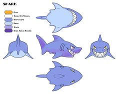 Model sheet of a shark I'm gonna work on today. My boyfriend suggested doing a diorama scene with other undersea creatures and that sounds fun!