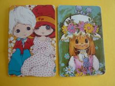 SINGLE 1970'S BLANK BACK WIDE EYED GIRL BOY X 2 Vintage Swap Playing Cards