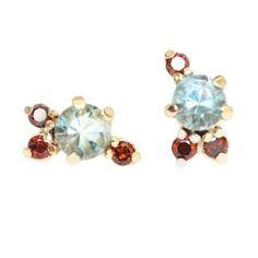 Mociun  Aquamarine and Red Diamond Stone Cluster Earrings