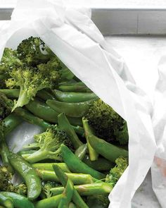 Broccoli, Asparagus, and Snap Peas in Parchment