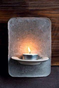 Tealight holder made of cement - DIY decoration - Bea- Teelichthalter aus Zement – DIY Deko – Bea Holder made of Cement – DIY Deco … - Cement Art, Concrete Crafts, Concrete Garden, Concrete Art, Concrete Design, Concrete Bowl, Concrete Planters, Beton Diy, Diy Candles