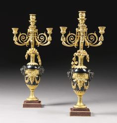 A fine pair of Louis XVI style gilt and patinated steel four light candelabra, Paris, circa in the manner of François Rémond and Louis-Simon Boizot Floor Lanterns, Vintage Candle Holders, Mantle Clock, Candle Stand, Cup And Saucer Set, Oil And Gas, Candlesticks, Table Lamp, Louis Xvi