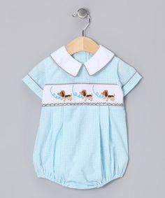Take a look at this Aqua Beagle Smocked Bubble Bodysuit - Infant by Clad in Cuteness: Infant Apparel on #zulily today!