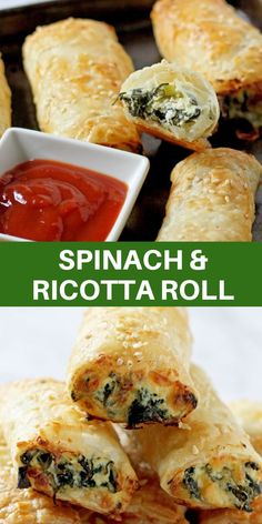 Spinach and Ricotta Rolls are a delicious appetiser or snack. These vegetarian cheesy rolls are quick to prepare and freeze well. A hit with kids and adults alike. Vegetarian Appetizers, Yummy Appetizers, Appetizer Recipes, Vegetarian Recipes, Cooking Recipes, Wedding Appetizers, Healthy Recipes, Easy Cooking, Healthy Cooking