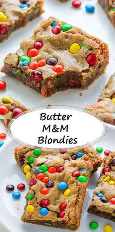 Leckere Butter M&M Blondies -You can find Butter and more on our website.Leckere Butter M&M Blondies - Mini Desserts, No Bake Chocolate Desserts, Chocolate Fudge Frosting, Cookie Desserts, Healthy Desserts, Easy Desserts, Delicious Desserts, Chocolate Chips, Delicious Chocolate