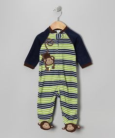 Take a look at this Navy & Green Stripe Monkey Footie - Infant by Little Me on #zulily today!