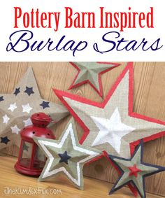DIY Pottery Barn Burlap Stars.  Easy and inexpensive to make out of cardboard!   Great Step-by-step tutorial   via www.TheKimSixFix.com