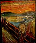 """Original Remake Of The Scream"" Impressionistic Oil Painting 16″x20″ 