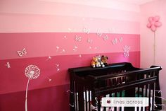 30 Best Ombre DIY Projects This is such a cute girls room idea! Love the pink ombre wall for an accent Pink Accent Walls, Pink Walls, Ombre Walls, Stripe Walls, Ombre Paint, Diy Ombre, Diy House Projects, Craft Projects, Little Girl Rooms