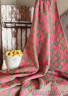 ANTIQUE Early Deep Double Pink & Overdyed Green QUILT Rich Color! CIVIL WAR ERA