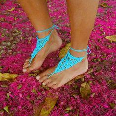 Barefoot Crochet Sandals Pattern - PDF summer accessories - beach cool fashion hot Woman accessory. $4.00, via Etsy.