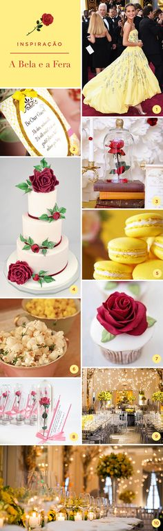Beauty and the Beast themed wedding. -- Wedding goals, inspiration, creativity, photography, cake, dress, macaroons, invitations, food, decoration