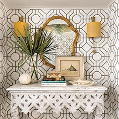 Southern Living Geometric & Coastal - Beautiful Wallpaper BAMBOO by Cowtan & Tout  (Sconces are Arrow Wall Light by Vaughan)