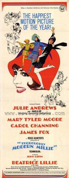 Thoroughly Modern Millie Movie Poster Insert Julie Andrews Carol Channing Mary Tyler Moore