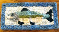 Fish Locker Hooked Trivet for your Fishing themed cabin kitchen