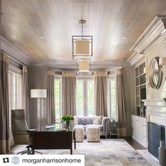 Beautiful wood paneling to sit and do work. Thanks @morganharrisonhome for using FPE! #painted #wood ceiling #color