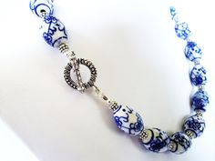 White Porcelain   porcelain necklace blue and white porcelain with silver necklace