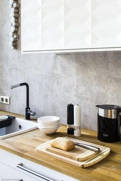 Betonowa ściana w kuchni
