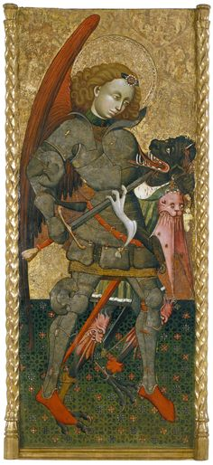 Blasco de Grañén - Saint Michael the Archangel. Around Tempera, stucco reliefs, gold leaf and metal plate on wood, 1837 mm x 802 mm, Museu Nacional d'Art de Catalunya Medieval Life, Medieval Armor, Medieval Knight, Angels Among Us, Angels And Demons, Religious Paintings, Religious Art, Saint George And The Dragon, La Madone