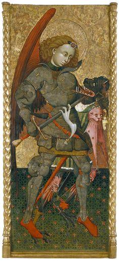 Sant Miquel Arcàngel. Blasco de Grañén. Cap a 1435-1445. El drac vigila els tresors, els passos i els llocs sagrats, arrasa terres i és adversari de l'heroi, el cavaller o el sant. Hi ha dos personatges que han lluitat contra el drac. Un és sant Miquel, que com diu l'Apocalisi s'enfronta al dimoni.