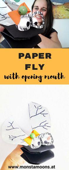 Verrückte Fliege basteln, Basteln mit Papier, paper crafts, fly craft, Basteln mit Kindern, Monstamoons, DIY fly, Fliege mit bewegtem Maul