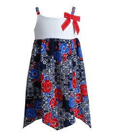 This Youngland Red & Navy Floral Handkerchief Dress - Kids & Tween by Youngland is perfect! #zulilyfinds