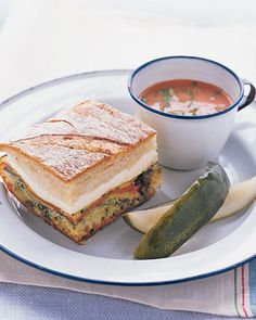 pressed sandwiches, cold tomato buttermilk soup. summer food. YUM More