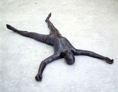 "Antony Gormley [UK] (b 1950) ~ ""LOST SUBJECT I"", 1994. Lead, fibreglass, air (37 x 149 x 228 cm). | #art #sculpture #figurative"