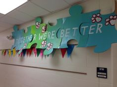 Synergy-Teachers wore these puzzle pieces as Halloween costumes. Love the puzzle piece idea. Puzzle Bulletin Boards, Classroom Bulletin Boards, Classroom Themes, Classroom Organization, Class Decoration, School Decorations, School Themes, School Fun, Sunday School