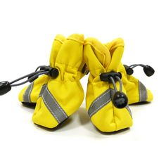 Slip-On Paws Dog Booties by Dogo - Solid Yellow  I'm not sure about the exposed toggles, but an interesting idea for a less active dog.