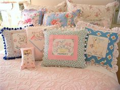 pillows made with vintage linens