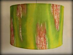 Lamp shade- Yellow Green Hand Painted Silk