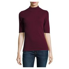 Philosophy Cashmere Half Sleeve Mock Neck Top, Burgundy ($125) ❤ liked on Polyvore featuring tops, burgundy top, mock neck top, elbow length tops, form fitting tops and purple top