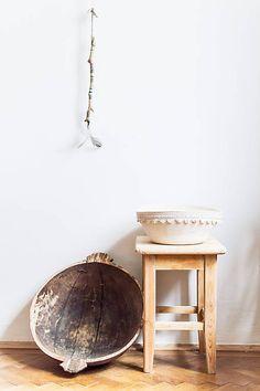 Natural off-white boho cotton basket