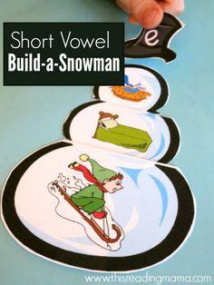 Short Vowel Build-a-Snowman {FREE} - This Reading Mama Reading Tutoring, Reading Intervention, Teaching Reading, Reading Skills, Learning, Math Literacy, Literacy Centers, Kindergarten Phonics, Preschool
