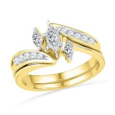 10K Yellow-gold 0.50CTW DIAMOND FASHION BRIDAL SET