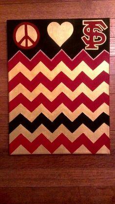 College dorm diy idea! Used painters tape to make a chevron pattern. FSU