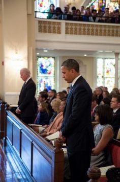 President Barack Obama With 1st Lady Michelle Obama With Vice President Joe Biden And 2nd Lady Dr.  Jill Biden @ Inaugural Church Service....  January 21, 2013