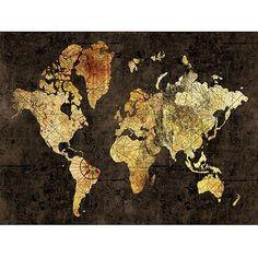 "World Map Ora Style Canvas Wall Art, 40"" x 30"" - Walmart.com"