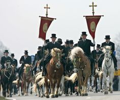 Even up to 500 Serbian Catholic riders are taking part in Easter Riding (Jutrowne jěchanje, Osterreiten) in Upper Lusatia, East Germany . Old tradition of Easter procession of pairs of riders wearing black tailcoats and top hats on ornated horses bringing the good news that Jesus Christ has risen started in the 15th century.