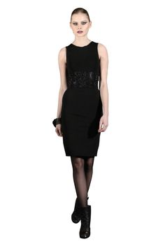 Yan To metallic trim dress