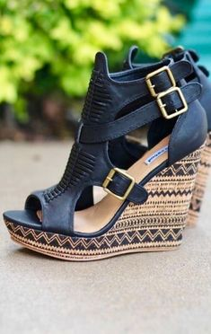 Light Like A Feather Aztec Printed Wedges (Black)  if you re new to heels  or hate how they make your feet hurt 1bd4f911406