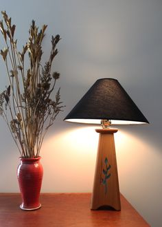 New Leaf & Vine Lamp. Handcrafted in USA from Sustainable Appalachian cherry wood & patina copper. #made in North Carolina, # American Made, # handmade, #functional art Danish Oil Finish, Mission Furniture, Wood Art, Vines, Cherry, Copper, Leaves, Sabbath, Table Lamps