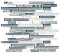 10 Square Feet - Bliss Waterfall Random Strip Glass and Stone Mosaic Tiles - contemporary - kitchen tile - Rocky Point Tile