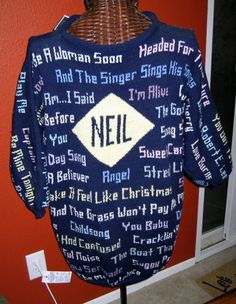 Neil Diamond sweater, wore by an uber-fan (who knit it!) in the front row of one of Neil's shows in 1989
