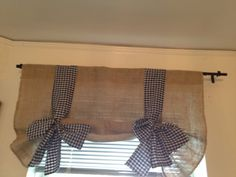 Burlap and black Gingham Tie Up Valance on Etsy, $35.00
