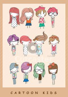 Illustration cute kids cartoon children                                                                                                                                                      More