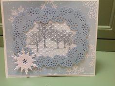 Christmas card using Martha Stewart Frame Border Punch