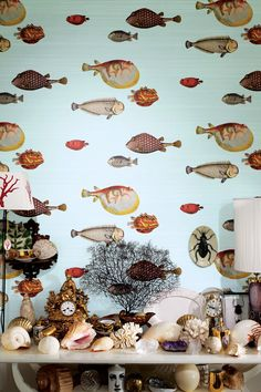 ACQUARIO's clownish fish wallpaper, an early Fornasetti theme, whimsical and naive appearance. Cole & Son Fornasetti II, through Lee Jofa Fornasetti Wallpaper, Piero Fornasetti, Fish Wallpaper, Striped Wallpaper, Quirky Wallpaper, Bathroom Wallpaper, Hallway Wallpaper, Beautiful Wallpaper, Wall Art