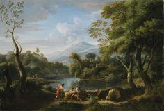 Jan Frans van Bloemen, dit l'Orizzonte  ANVERS 1662 - 1749 ROME  PAYSAGE ANIMÉ DE PERSONNAGES  JAN FRANS VAN BLOEMEN ; LANDASCAPE WITH FIGURES ; OIL ON CANVAS